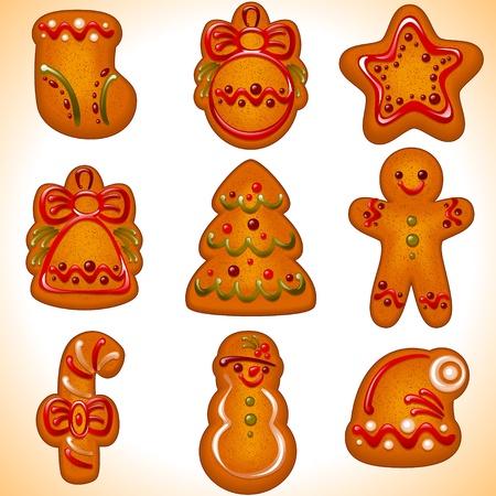 galletas de jengibre: colecci�n de las galletas de Navidad aislado en blanco ilustraci�n background.Vector - conjunto de iconos de navidad.