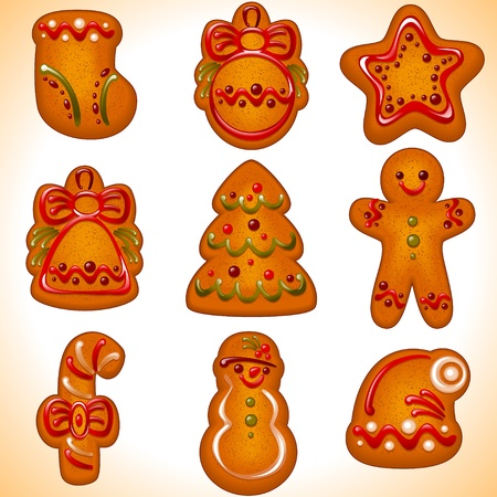 biscuits: collection of the Christmas cookies isolated on white background.Vector illustration - set of christmas icons.