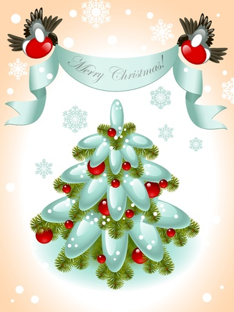 christmas tree with red ball on the background of snowflakes. top of ribbon to the birds and the words Merry Christmas. Vector illustration. Vector