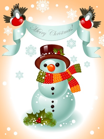 Cheerful snowman on the background of snowflakes. top of ribbon to the birds and the words Merry Christmas.Vector illustration. Vector