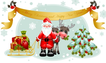 Vector illustration - christmas card.Santa claus with gifts and christmas tree.Banner Merry Christmas and happy new year