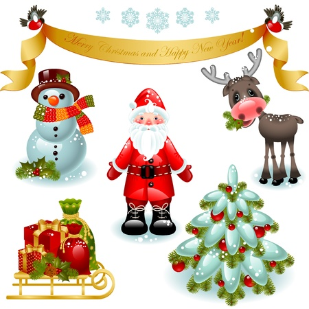ベクトル イラスト - クリスマスのアイコンのセットです。ギフト、クリスマス ツリーとサンタ クロースメリー クリスマスと幸せな新年をバナーし