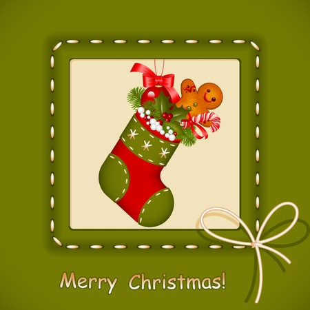 Christmas card.  stocking with red ball christmas, cookies, candy and holly berry in frame with bow. Congratulation Merry Christmas. Vector illustration.