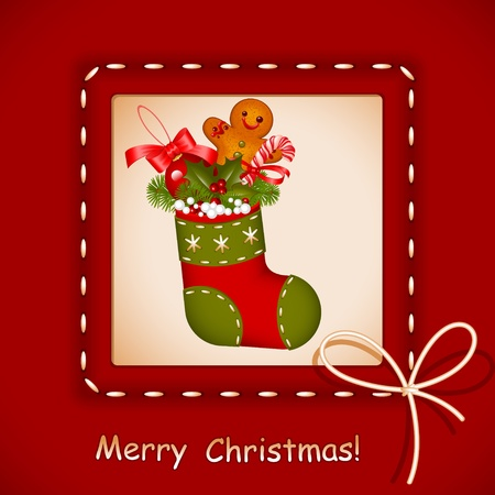 gingerbread man: Christmas card.  stocking with red ball christmas, cookies, candy and holly berry in frame with bow. Congratulation Merry Christmas. Vector illustration.