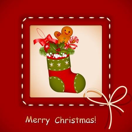 Weihnachtskarte. Strumpf mit roter Ball Weihnachten, Plätzchen, Süßigkeiten und Holly Berry in Rahmen mit Bogen. Herzlichen Glückwunsch Merry Christmas. Vektor-Illustration.