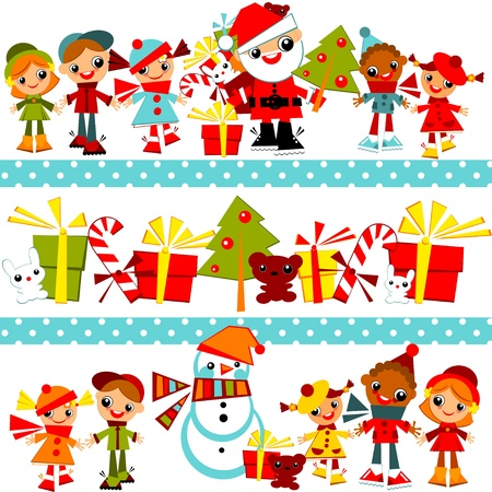 Christmas background with set kidskids holding hands in line with Santa, Christmas tree, snowman and gifts, in several rowsVector illustration.border.