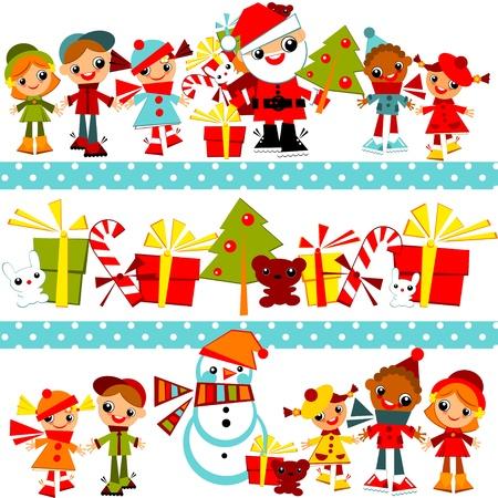 cute border: Natale sfondo con kidskids insieme mano nella mano in linea con Babbo Natale, albero di Natale, pupazzo di neve e regali, in diversi illustration.border rowsVector. Vettoriali