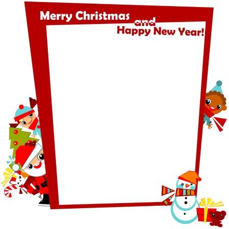 クリスマスとサンタ、スノーマン、クリスマス ツリーとギフトのメリー クリスマスのシグネチャを持つ、赤いフレームの端でボックスに frame.kids と
