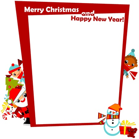ornament menu: christmas greeting  frame.kids with Santa, snowman, Christmas tree and gifts in the boxes at the edges of the red frame, with the signature Merry Christmas and happy new year.Vector illustration. border