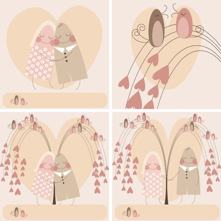 木の枝に鳥と愛の心の背景に愛のカップル。バレンタインの日のお祝いカードを様式化ベクトルに設定します。  イラスト・ベクター素材