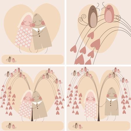 木の枝に鳥と愛の心の背景に愛のカップル。バレンタインの日のお祝いカードを様式化ベクトルに設定します。
