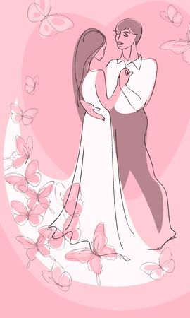 couple embrace: Valentine day cardboy and girl in white dress, standing hug and hand in hand against a background of pink hearts. Vector illustration