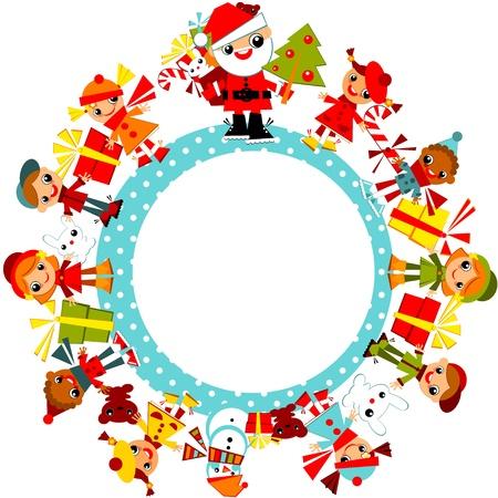 クリスマスの背景。地球上の円の中に立っているサンタと冬の服の子供たち。ベクトル イラスト。  イラスト・ベクター素材