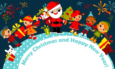 christmas greeting card.kids are among a circle, holding hands with Santa on a dark blue sky with fireworks, with the signature Merry Christmas and happy new year.Vector illustration.