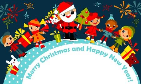 Weihnachtsgruß card.kids gehören zu einem Kreis, Hand in Hand mit dem Weihnachtsmann auf einem dunkelblauen Himmel mit Feuerwerk, mit der Unterschrift Frohe Weihnachten und guten Rutsch ins neue year.Vector Illustration. Standard-Bild - 11595911