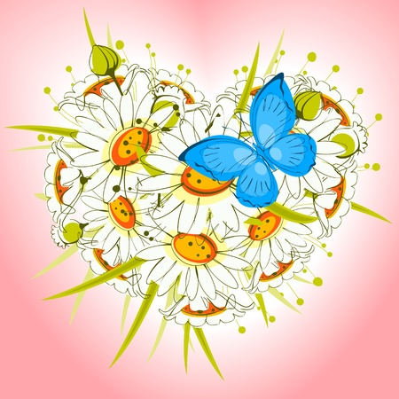 Flower heart of daisies with  butterfly on a pink background. valentine card. Vector