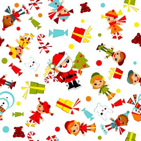 子供クリスマス wallpaper.set サンタ、クリスマス ツリー、雪だるま、キャンディー、白い背景で隔離のギフトを持つ。ベクトル イラスト。