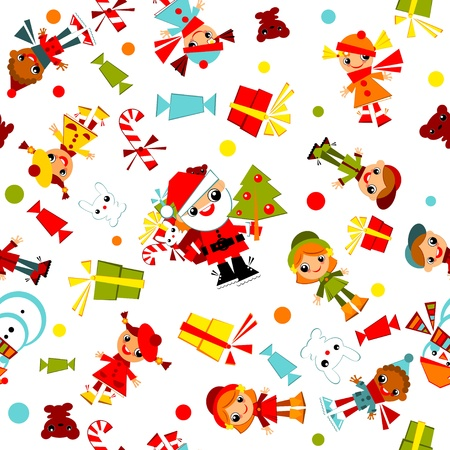 kids Christmas wallpaper.set child with Santa, Christmas tree, snowman, candy and gifts,  isolated on a white background.Vector illustration. Ilustracja