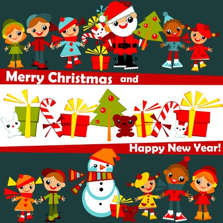 kids Christmas background.childs holding hands in line with Santa, Christmas tree, snowman and gifts, on a dark blue sky with fireworks, in several rows.greeting signature Merry Christmas and happy new year.Vector illustration. Ilustracja