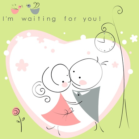 valentines couple,  meet on a date under the clock, green background of heart  . Vector illustration of Valentine card Ilustracja