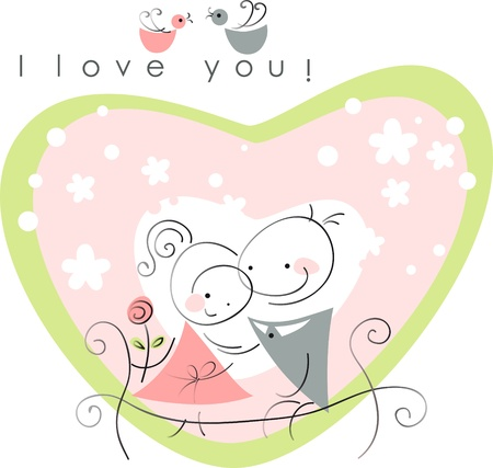 valentines couple,  women and  men on park bench, pink background of heart  . Vector illustration of Valentine card Stock Vector - 11595918