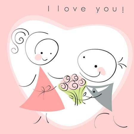 バレンタイン カップル、女性とピンクの背景の心の花を持つ男性。バレンタイン カードのベクトル イラスト
