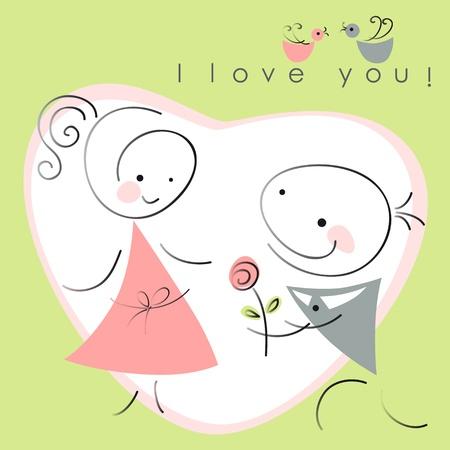 バレンタイン カップル、女性と緑色の背景で心のローズと男性。バレンタイン カードのベクトル イラスト