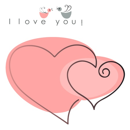 valentines hearts two shapes on pink background with text -  I love you. Vector illustration of Valentine card Illustration