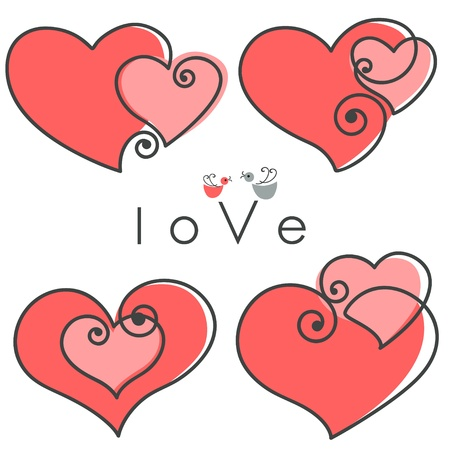 valentines set hearts two shapes on pink background with birds and text - love . Vector illustration. Vector