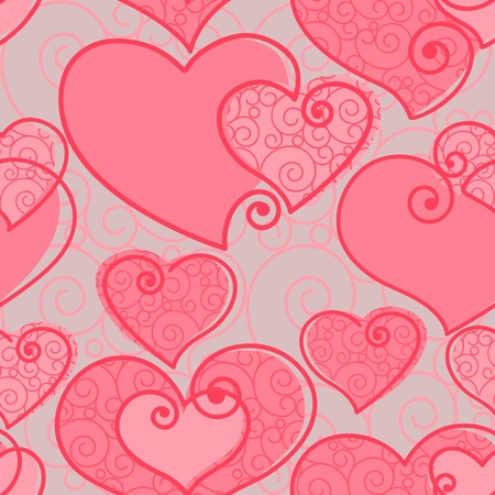 vector wallpaper: valentines wallpaper with set hearts on pink pattern background. Vector illustration.