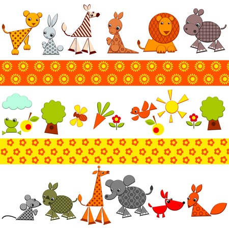 cute animals: animals background. set of bright colored animals. Vector illustration. Illustration
