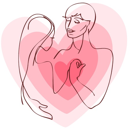 couple embrace: Valentine day card. silhouette couple with heart, standing and hug on pink background. Vector illustration.