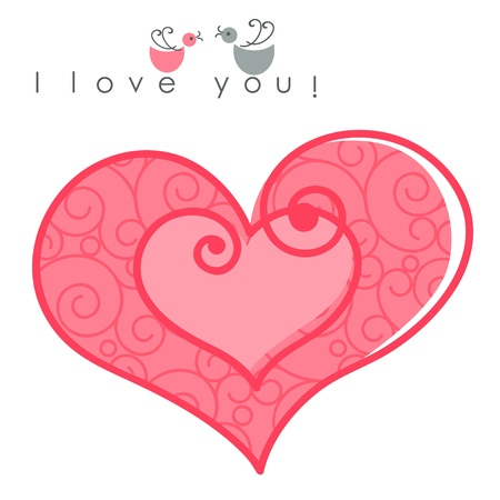 valentines hearts  two shapes on pink pattern background with text -  I love you. Vector illustration of Valentine card Stock Vector - 11663190