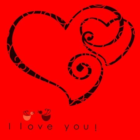 valentinky srdce dvěma tvary na pozadí růžové vzor s textem - Miluji tě. Vektorové ilustrace Valentine karty