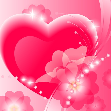 abstract valentine background with heart and  flower on pink background. Vector illustration. Stock Illustration - 11663189