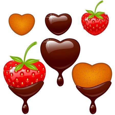 バレンタインのアイコンを設定します。イチゴ、チョコレート、クッキーの白い背景で隔離のハートの形で。ベクトル イラスト。