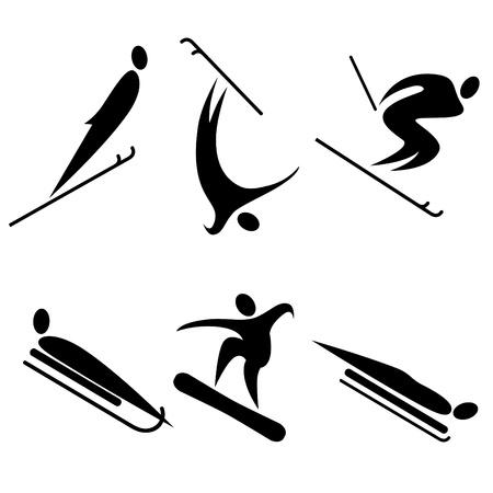 disciplines: set van wintersporten iconen. Olympische disciplines. Stock Illustratie