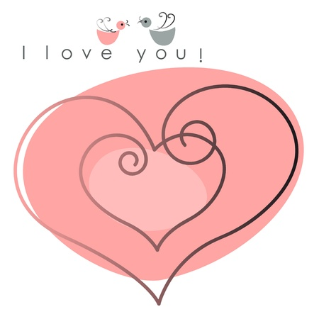Valentine card. two hearts with  birds on pink background, and text -  I love you. Vector illustration Stock Vector - 11840326