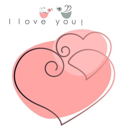 バレンタイン カード。2 つの心ピンクの背景とテキストの上の鳥を愛しています。ベクトル イラスト