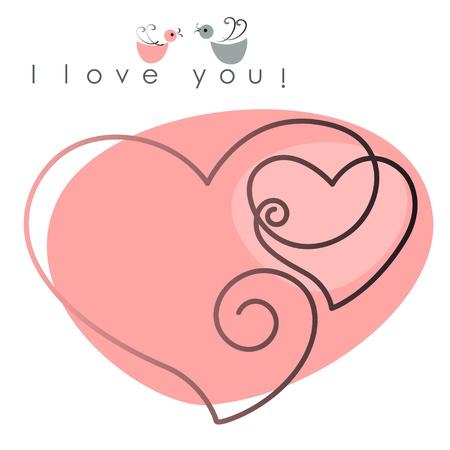 love wallpaper: Tarjeta de San Valent�n. dos corazones con las aves en el fondo de color rosa, y el texto - Te quiero. Ilustraci�n vectorial