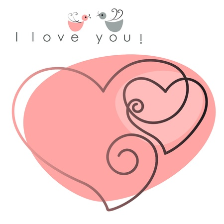 love background: Valentine card. two hearts with  birds on pink background, and text -  I love you. Vector illustration
