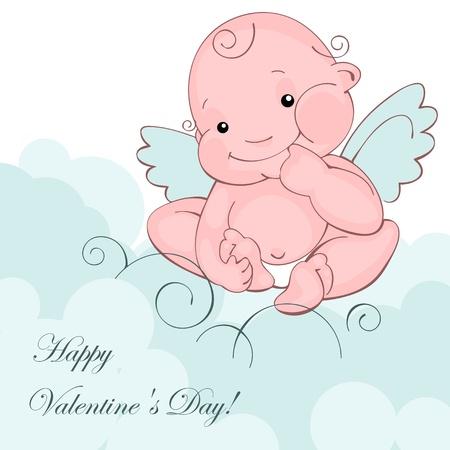 バレンタイン グリーティング カード - 幸せなバレンタイン day.baby エンジェル ブルー雲の上。ベクトル イラスト  イラスト・ベクター素材