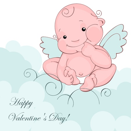 Valentine greeting card - happy valentine day.baby angel on a blue clouds. Vector illustration Vector