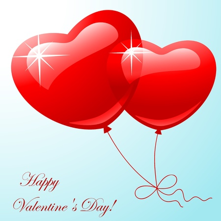 Valentine greeting card - happy valentine day.Red two balloon in shape hearts on a blue background. Vector illustration Vector