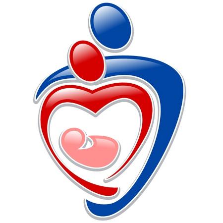アイコンの人 -、心臓の形で手を繋いでいる家族のシンボル  イラスト・ベクター素材