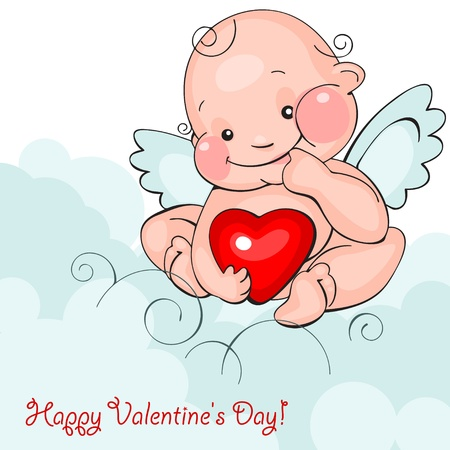 Valentine greeting card - happy valentine day.baby angel with heart  on a blue clouds backgroundVector illustration Vector