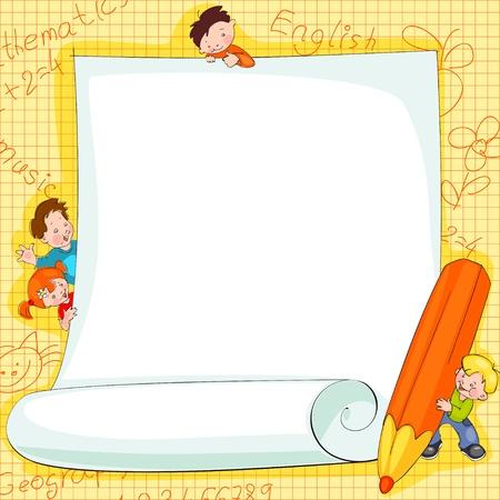 学校の子供たち backgroundVector イラスト上のフレームのテキストを配置します。  イラスト・ベクター素材