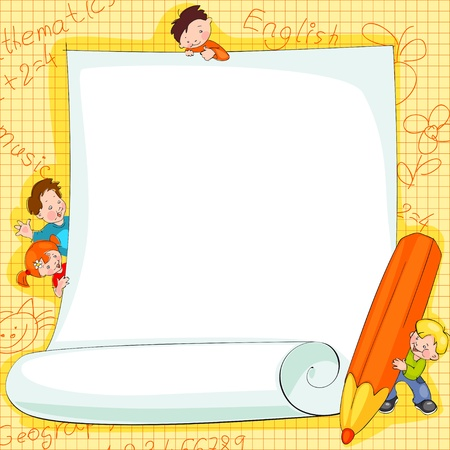 happy people white background: Place for text -  frames on school kids backgroundVector illustration. Illustration