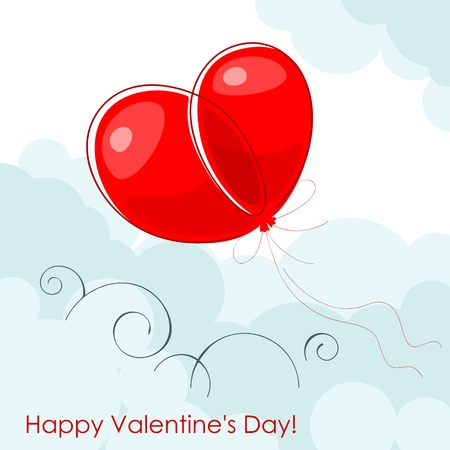 Valentine greeting card - happy valentine day.Red two balloon in shape hearts on a blue sky. Vector illustration Vector