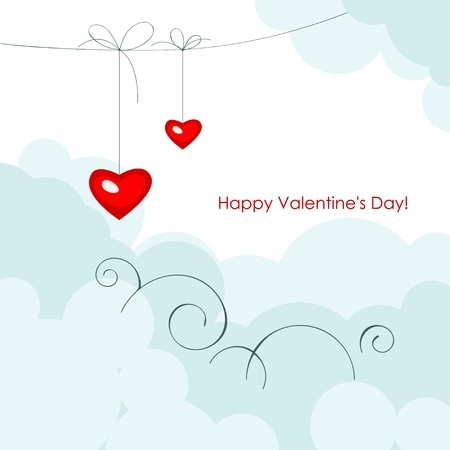 Valentine greeting card - happy valentine day.Red two hearts in shape hearts on a blue sky. Vector illustration Vector